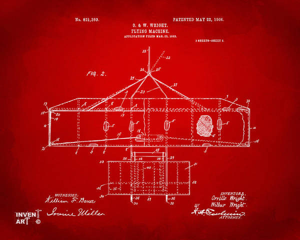 Digital Art - 1906 Wright Brothers Airplane Patent Red by Nikki Marie Smith