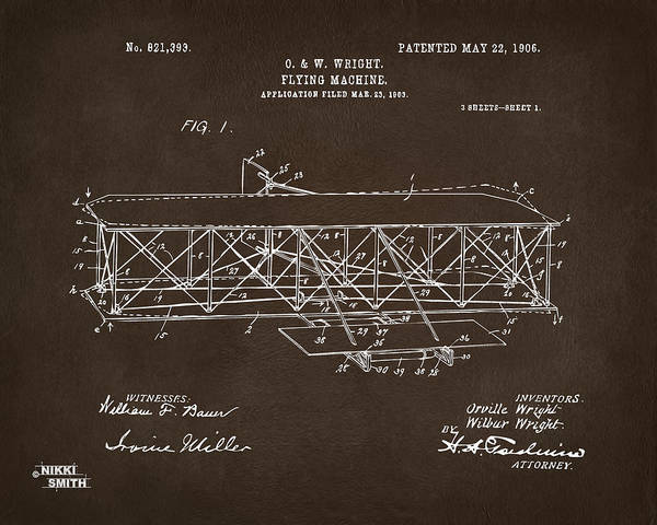Digital Art - 1906 Wright Brothers Flying Machine Patent Espresso by Nikki Marie Smith
