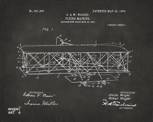 Cross Section Digital Art - 1906 Wright Brothers Flying Machine Patent Gray by Nikki Marie Smith