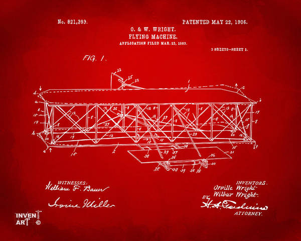 Digital Art - 1906 Wright Brothers Flying Machine Patent Red by Nikki Marie Smith