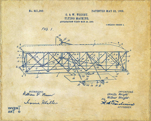Cross Section Digital Art - 1906 Wright Brothers Flying Machine Patent Vintage by Nikki Marie Smith