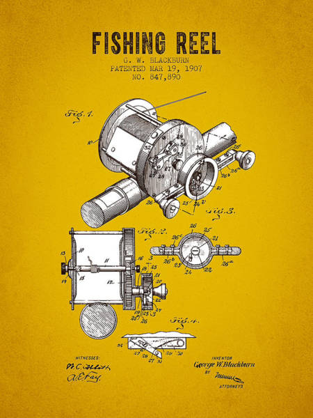 Wall Art - Digital Art - 1907 Fishing Reel Patent - Yellow Brown by Aged Pixel