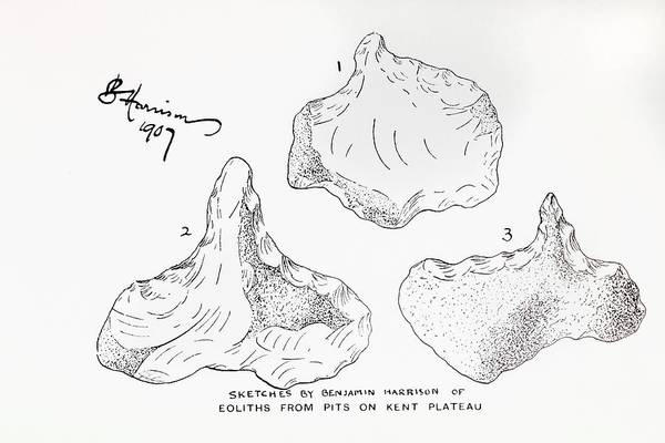 Archaeology Photograph - 1907 Harrison Eolith Dawn Stone Tool by Paul D Stewart
