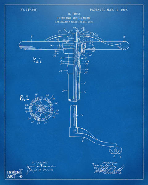 Digital Art - 1907 Henry Ford Steering Wheel Patent Blueprint by Nikki Marie Smith