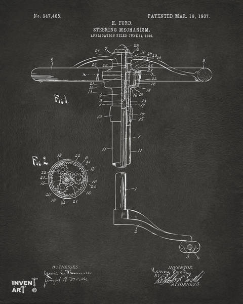 Steering Wheel Wall Art - Digital Art - 1907 Henry Ford Steering Wheel Patent Gray by Nikki Marie Smith