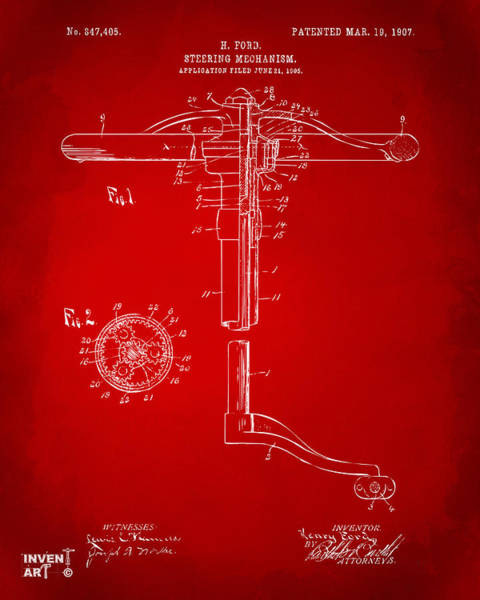 Digital Art - 1907 Henry Ford Steering Wheel Patent Red by Nikki Marie Smith