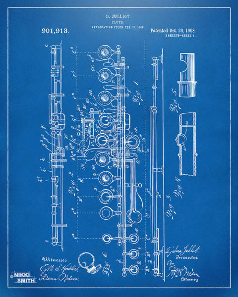 Marching Digital Art - 1908 Flute Patent - Blueprint by Nikki Marie Smith