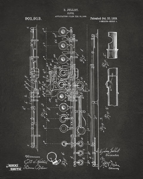 Marching Digital Art - 1908 Flute Patent - Gray by Nikki Marie Smith