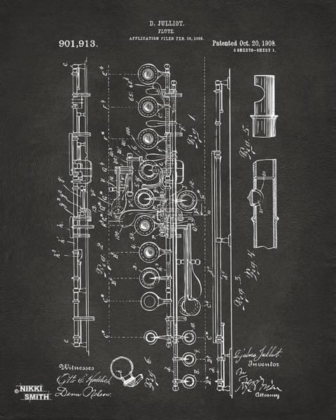 Wall Art - Digital Art - 1908 Flute Patent - Gray by Nikki Marie Smith