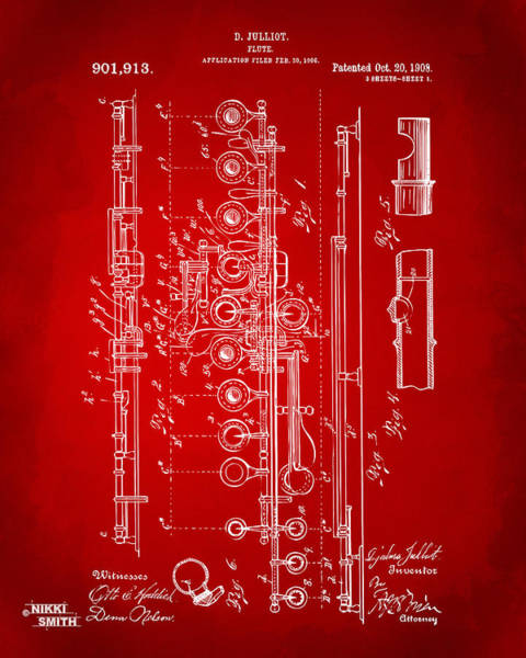 Marching Digital Art - 1908 Flute Patent - Red by Nikki Marie Smith