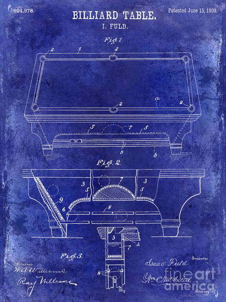 Pool Table Photograph - 1909 Billiard Table Patent Drawing Blue by Jon Neidert