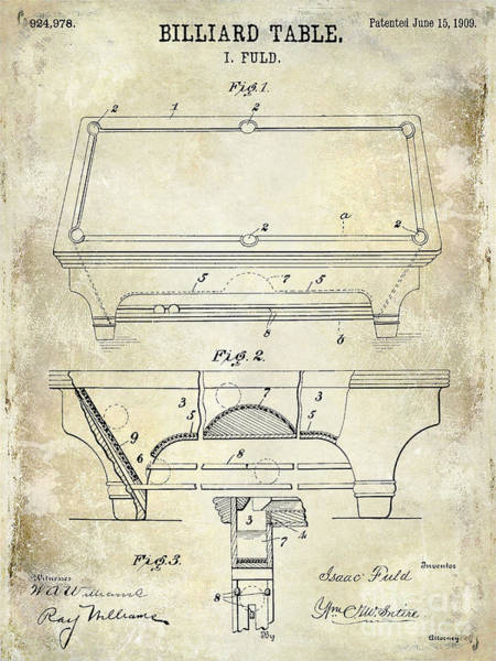 Patent Drawing Wall Art - Photograph - 1909 Billiard Table Patent Drawing  by Jon Neidert