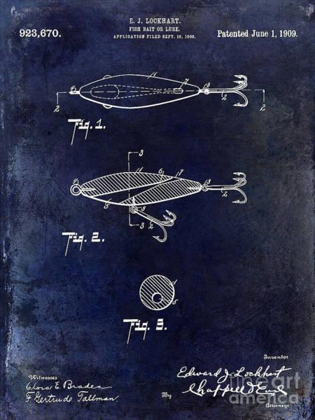 1909 Fishing Lure Patent Drawing Blue Art Print