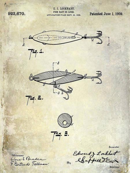 1909 Fishing Lure Patent Drawing Art Print