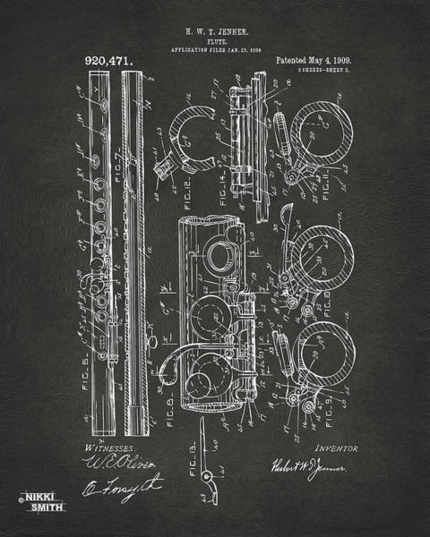 Marching Digital Art - 1909 Flute Patent - Gray by Nikki Marie Smith