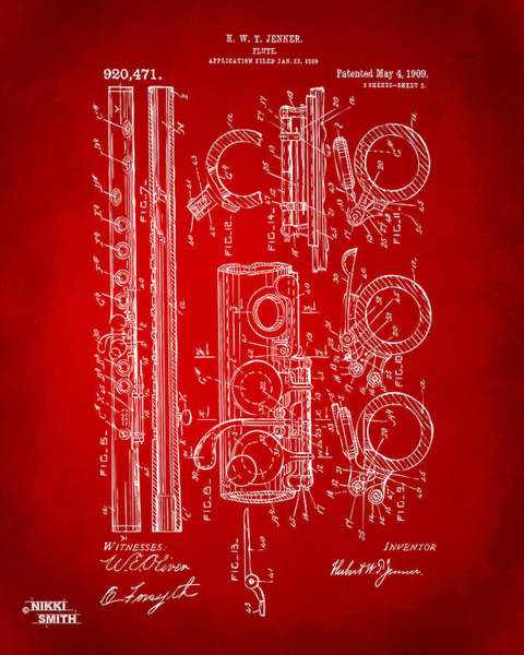 Marching Digital Art - 1909 Flute Patent In Red by Nikki Marie Smith