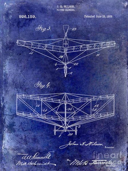 Vintage Airplane Drawing - 1909 Flying Machine Patent Drawing Blue by Jon Neidert