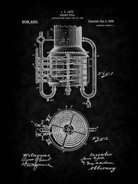 Digital Art - 1909 Jett Whiskey Still Patent Art-bk by Barry Jones
