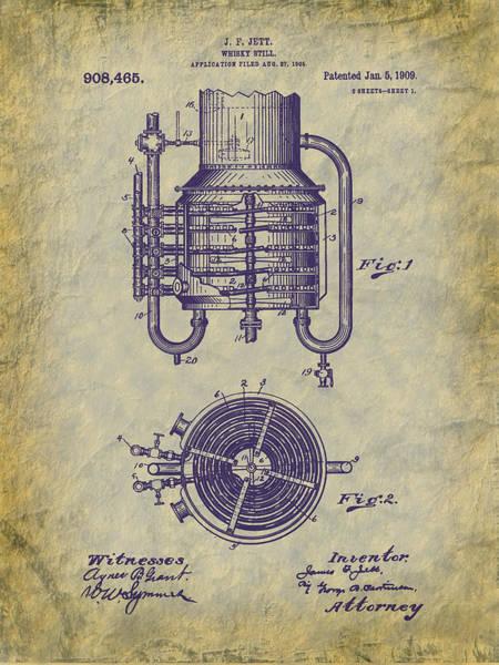 Digital Art - 1909 Jett Whiskey Still Patent by Barry Jones