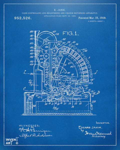 Digital Art - 1910 Cash Register Patent Blueprint by Nikki Marie Smith
