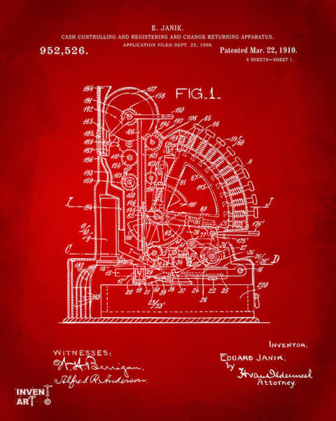 Digital Art - 1910 Cash Register Patent Red by Nikki Marie Smith