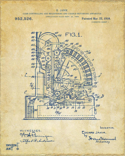 Digital Art - 1910 Cash Register Patent Vintage by Nikki Marie Smith