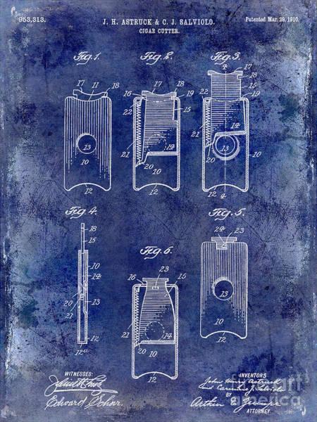 Cigar Photograph - 1910 Cigar Cutter Patent Drawing Blue by Jon Neidert