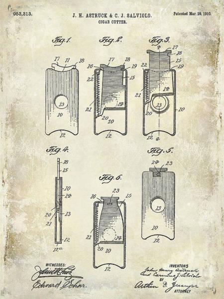 Cigar Photograph - 1910 Cigar Cutter Patent Drawing by Jon Neidert