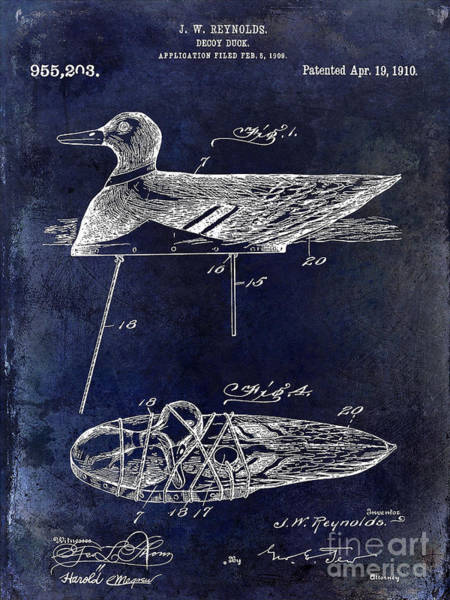Duck Hunt Photograph - 1910 Duck Decoy Patent Drawing by Jon Neidert
