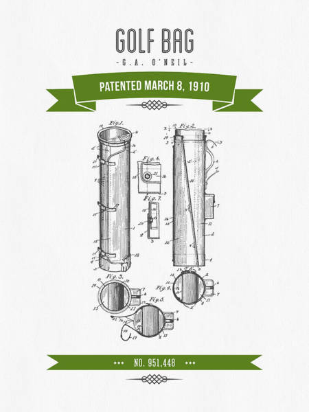 Wall Art - Digital Art - 1910 Golf Bag Patent Drawing - Retro Green by Aged Pixel