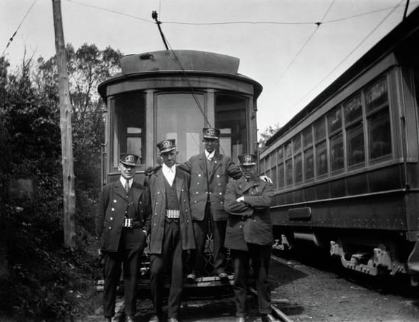Trolley Car Wall Art - Photograph - 1910s 1920s 4 Men Conductors Motormen by Vintage Images