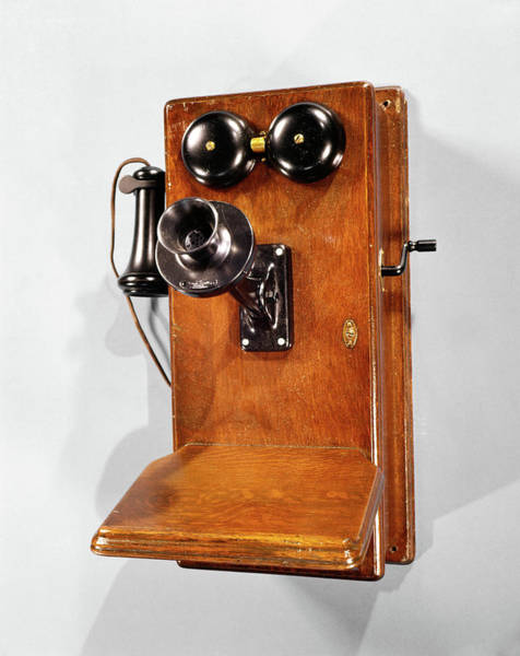 Crank Photograph - 1910s Antique Wooden Wall Telephone by Vintage Images
