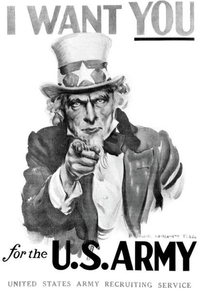 Uncle Sam Painting - 1910s World War One I Want You Uncle by Vintage Images