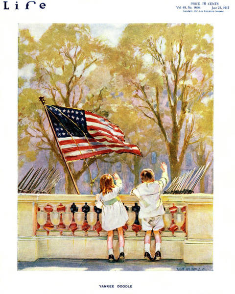 Togetherness Painting - 1910s Yankee Doodle Boy And Girl Waving by Vintage Images