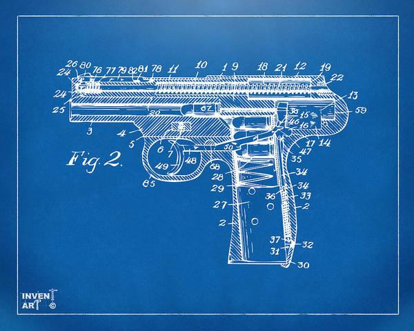 Weapons Digital Art - 1911 Automatic Firearm Patent Minimal - Blueprint by Nikki Marie Smith