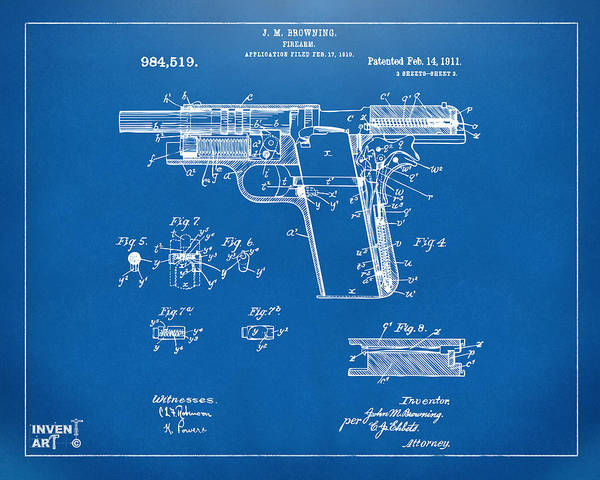 Digital Art - 1911 Colt 45 Browning Firearm Patent 2 Artwork Blueprint by Nikki Marie Smith