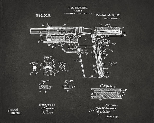 Wall Art - Digital Art - 1911 Colt 45 Browning Firearm Patent 2 Artwork - Gray by Nikki Marie Smith