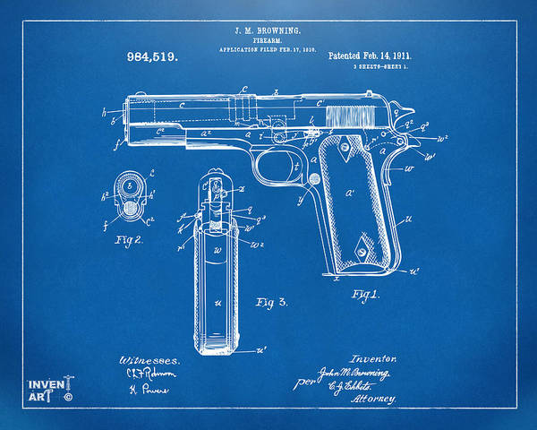 Digital Art - 1911 Colt 45 Browning Firearm Patent Artwork Blueprint by Nikki Marie Smith