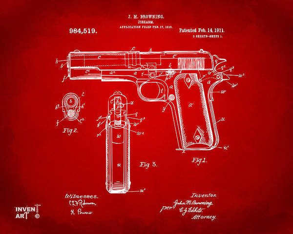Digital Art - 1911 Colt 45 Browning Firearm Patent Artwork Red by Nikki Marie Smith