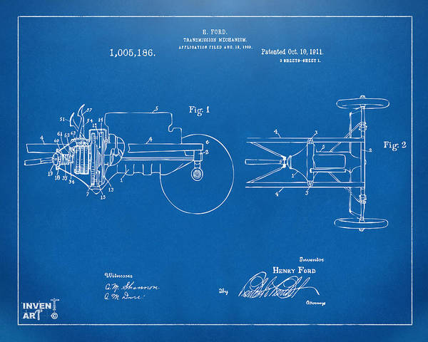Transmission Wall Art - Digital Art - 1911 Henry Ford Transmission Patent Blueprint by Nikki Marie Smith