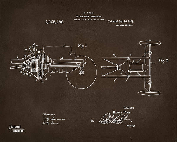 Transmission Wall Art - Digital Art - 1911 Henry Ford Transmission Patent Espresso by Nikki Marie Smith