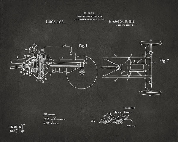 Transmission Wall Art - Digital Art - 1911 Henry Ford Transmission Patent Gray by Nikki Marie Smith