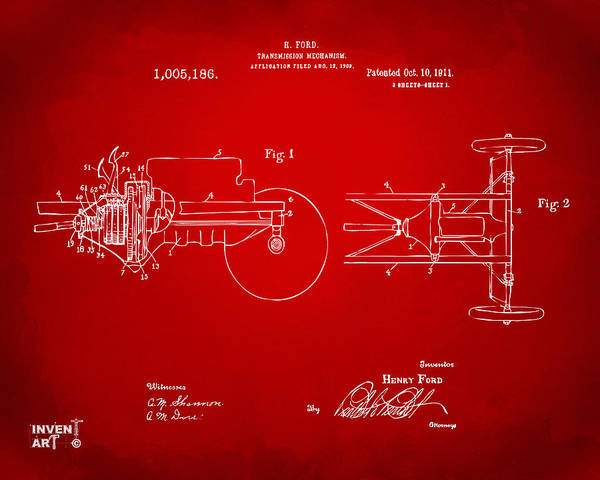 Transmission Wall Art - Digital Art - 1911 Henry Ford Transmission Patent Red by Nikki Marie Smith