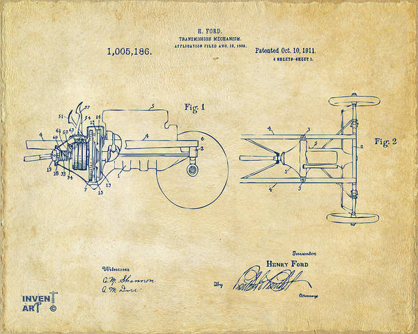 Transmission Wall Art - Digital Art - 1911 Henry Ford Transmission Patent Vintage by Nikki Marie Smith