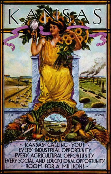 Topeka Wall Art - Painting - 1911 Kansas Poster by Historic Image