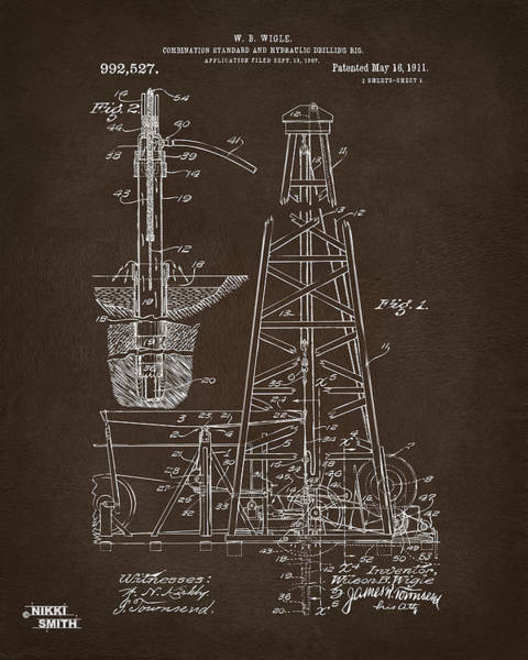 Digital Art - 1911 Oil Drilling Rig Patent Artwork - Espresso by Nikki Marie Smith