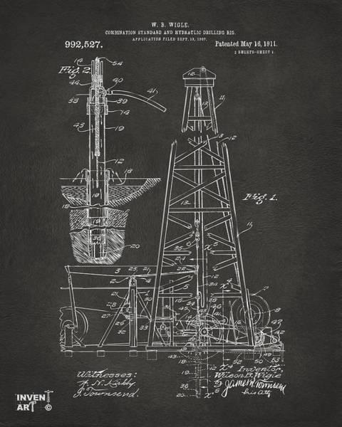 Drilling Rig Wall Art - Digital Art - 1911 Oil Drilling Rig Patent Artwork - Gray by Nikki Marie Smith