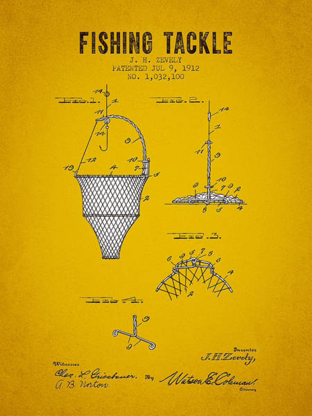 Wall Art - Digital Art - 1912 Fishing Tackle Patent - Yellow Brown by Aged Pixel