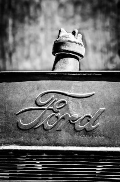 1912 Photograph - 1912 Ford Hood Ornament - Emblem -0496bw by Jill Reger