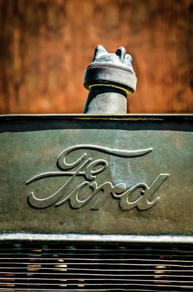 1912 Photograph - 1912 Ford Hood Ornament - Emblem -0496c by Jill Reger